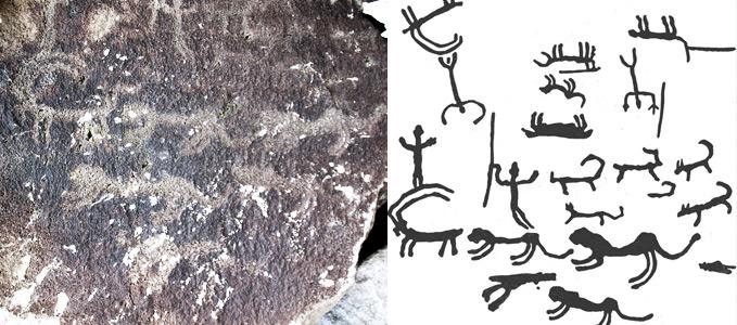 Наскальное изображение охоты с 20-ю гампрами